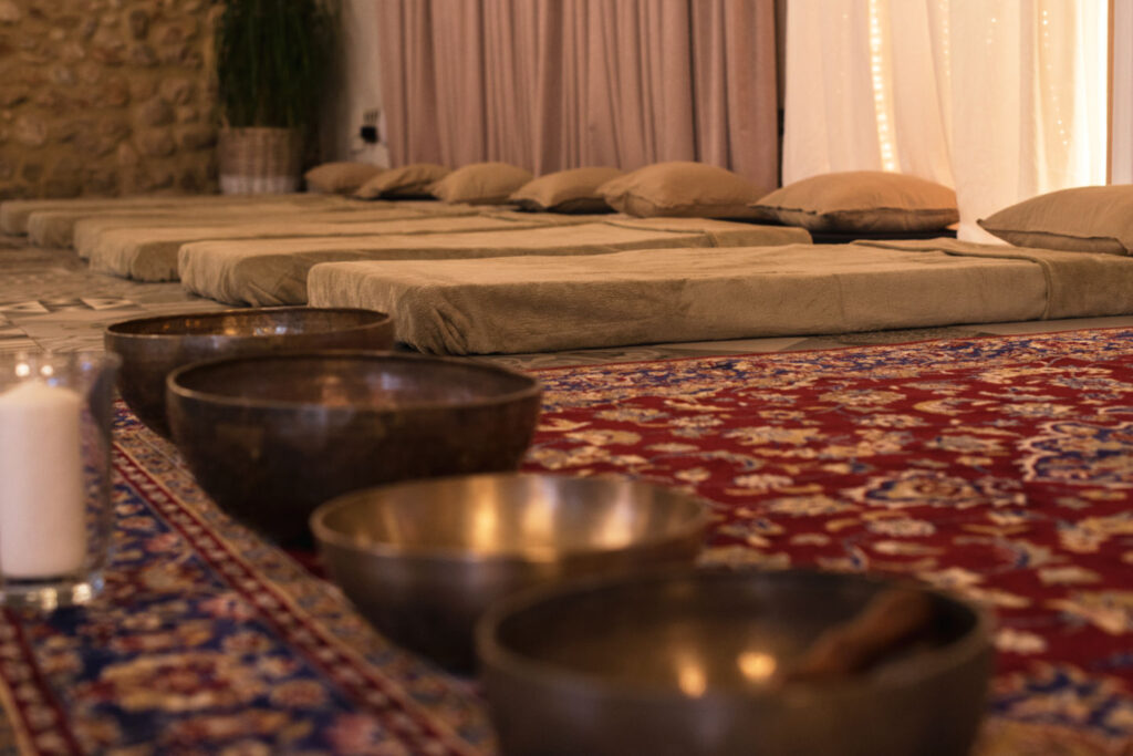 Drinking ayahuasca in a ceremony room at Avalon in Barcelona, Spain